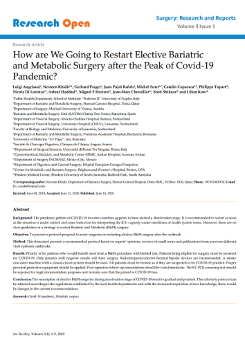 How are We Going to Restart Elective Bariatric and Metabolic Surgery after the Peak of Covid-19 Pandemic?